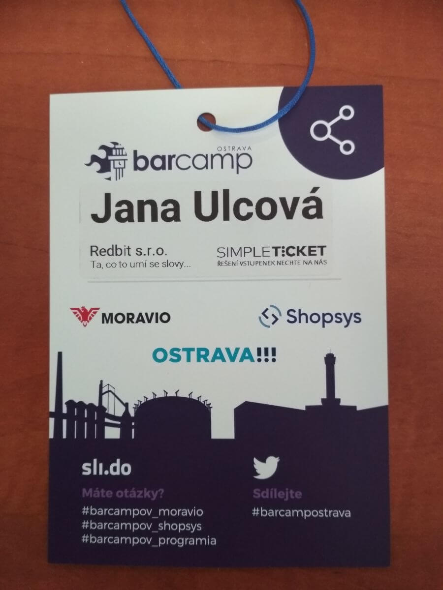 Visačka na jméno Barcamp Ostrava